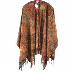 New Tapestry Ruana Shawl with Fringe